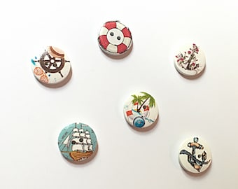Nautical wood buttons - sea buttons