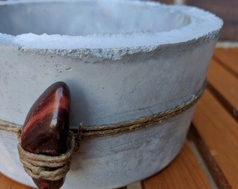 Marbleized Cement Planter with Hemp and Tigers Eye Charm