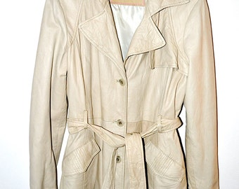 Offwhite leather coat - supersoft