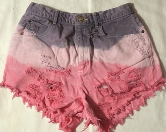 Lizwear Petite Size 10  Cutoff Distressed High Waisted Jean Shorts Dip Dyed