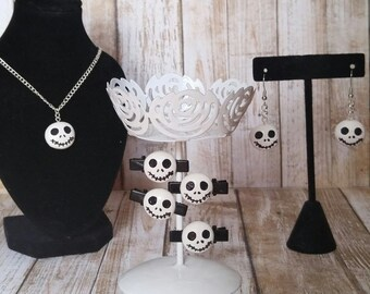 Nightmare Before Christmas Necklace, Earrings & Clip Set