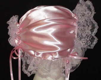 Adult bABy Sissy little Adult girl baby bonnet pink Cosplay.