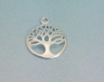 Sterling Silver Tree of Life Charm. 925 Sterling Silver Tree of Life Pendant.  Available in quantities of 1, 5, or 10.