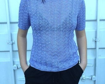 Vintage 90s Mavue Crochet Short Sleeve Sweater Top Size M