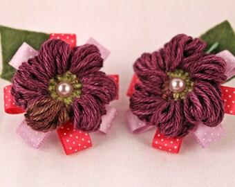 Purple Crochet Hair Ties, Crochet Hair Ties, Purple Hair Ties, Flower Hair Ties, Purple Flower Hair Ties, Girly Hair Ties, Girl Hair Ties,