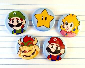 "Super Mario 1.25"" Pinback Button Set"