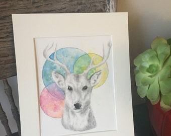 Colorful Deer Watercolor Print