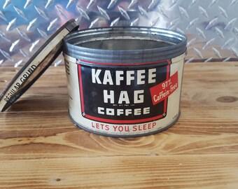 Vintage Coffee Can 1950's Kaffee Hag,  1 lb metal Tin with lid