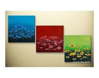 Original Spring / Summer Floral Triptych Acrylic Painting by artbyboon