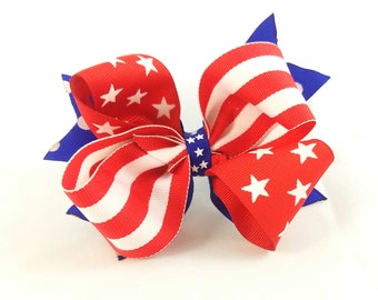 Stars and Stripes - 4th of July Bow