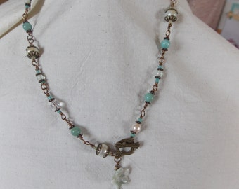 necklace with  joy jade and pearls. toggle clasp
