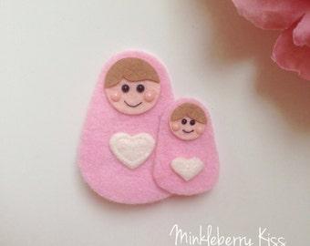Russian doll felt hair clip, clasp. Babushka. Nesting dolls. Matryoshka.