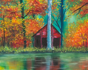Autumn Trees and Barn Reflecting in Lake Original Oil Painting Giclee Print