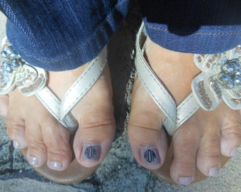 Decorate your toenails with these monogrammed toenail stickers, Toenail Monograms, Preppy Toenail Monograms