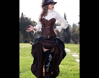 3 pc. Steampunk Victorian Corset & Double Bustle Skirt, costume, cosplay goth clothes clothing