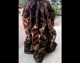 Steampunk Victorian Taffeta Bustle Skirt Costume for Cosplay Halloween