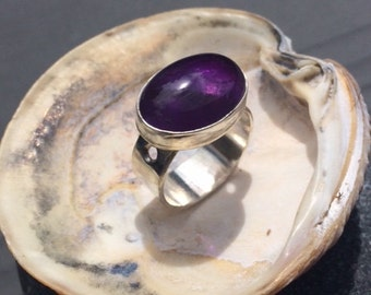 Amethyst silver Ring, statement ring
