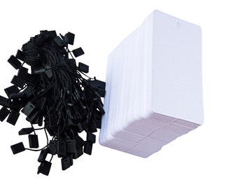 100 White Hang Tags with 100 Black Fasteners - FREE SHIPPING