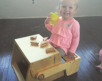 Handcrafted Solid Wood Convertable Step Stool / Chair / Table