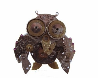 Steampunk owl, pendant - necklace
