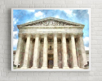 washington supreme court building - Aquarelle Watercolor Painting Digital Wall Art Instant Download