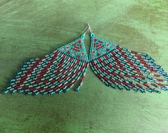 Seed Bead Earrings, Fringe Earrings, Native American Beaded Earrings, Seed Bead Jewelry, Extra Long Earrings,Dangle and Drop Earrings