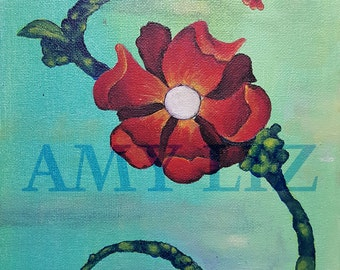 Prints:  Red Flower Painting