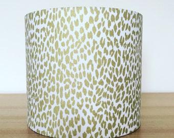 Handmade Fabric Lampshade,Funky metallic gold leopard print