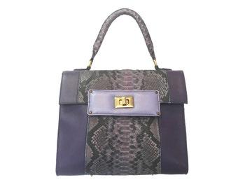 leather bag / Python Snake Skin bag / hand made