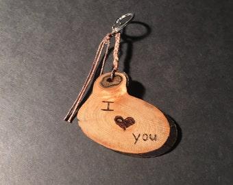 Wood Burn Keychain: I love you