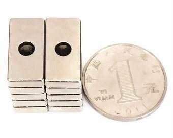 10pcs N50 20x10x4mm Hole Rare Earth Neodymium Magnets