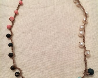 Light weight hemp crochet necklace with freshwater pearls, and gemstones