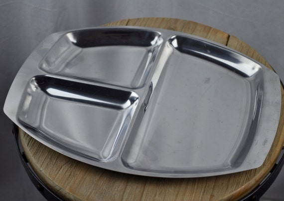 Vintage Mid Century Danish Stainless Steel 3-Section Serving Tray Made in Denmark