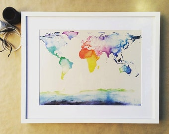 World Map // Multicolour 'Where to Next?' Framed Print // Wall Art