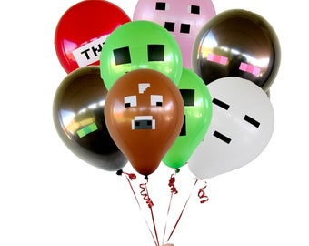 Pixelated Balloons 28 count XL for your TNT party -black,green,pink,red,white,brown free shipping