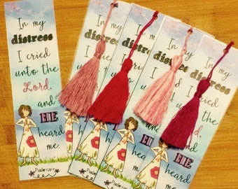 Bible Verse Bookmark - Psalm 120:1 -  handmade WITH tassel (stock #1) In my distress, I cried unto the Lord