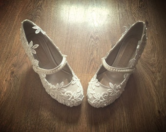 Lace & Pearl Ankle Strap Mary Janes