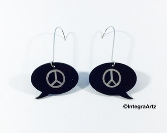 Peace speech bubble earings