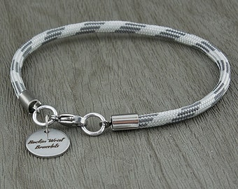 """Grey Scale Paracord """"Simple"""" Lobster Clasp Bracelet"""
