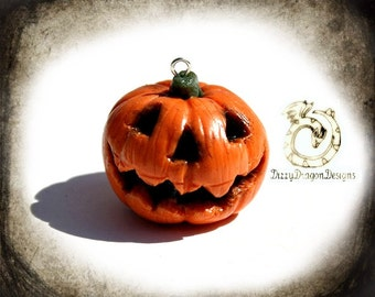 Jack o lantern charm, Halloween pumpkin, necklace, jewelry, handmade, gift idea, polymer clay