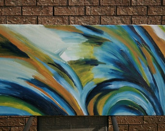 Original Abstract Wall Painting, Large, Blue, Yellow, Green