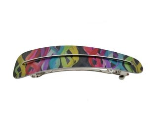 Multi coloured neon lines hair clip, anodized aluminum