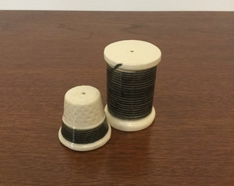 Vintage Spool of Thread and Thimble Salt and Pepper Shakers