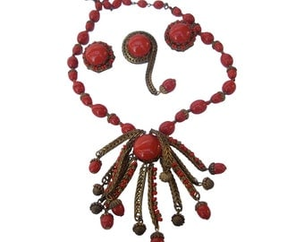 Miriam Haskell Crimson Glass Beaded Necklace, Brooch, and Earrings. 1960's.