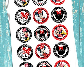 """Minnie Is My Bestie! - Minnie Mouse Inspired - Red - Digital Bottle Cap Images - INSTANT DOWNLOAD - 1"""" Bottle Cap Images 4x6"""