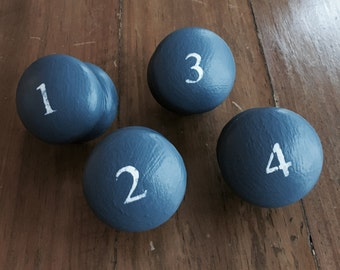 Set of Four Painted Wooden Drawer Knobs
