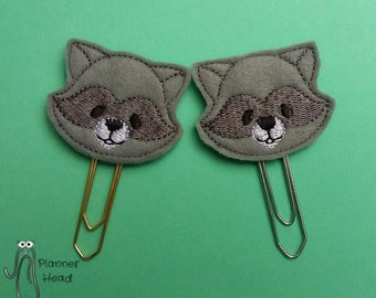 Raccoon paper clip, raccoon planner clip, cute raccoon, raccoon feltie,