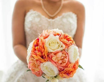 Round Bridal Poesy with real touch and silk roses and peonies
