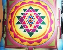 Sri Yantra Chakras Pillow Cushion Decor Sacred Geometry 48cm*48cm