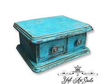 Turquoise Wood Jewel Box